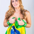 Stock Photo: Sexy BraziliWomwith National Flag