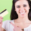 Young Woman Holding Credit Card — Stock Photo