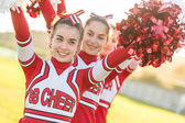 Group of Cheerleaders with Raised Pompom — Foto de Stock