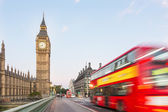 Big Ben and Red Double-Decker Bus — Stock Photo