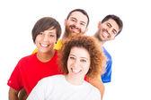 Gelukkig groep vrienden op witte achtergrond — Stockfoto