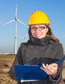Female Engineer in a Wind Turbines Farm — Foto Stock