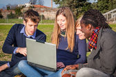 College Students with Computer at Park — Stock Photo