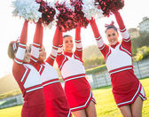 Group of Cheerleaders with Raised Pompom — Stok fotoğraf