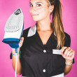 Funny Housemaid with the Iron — Stock Photo
