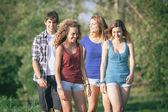 группа подростков друзей, прогулки в парке — Стоковое фото