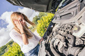 Young Woman with Damaged Car — Stock Photo