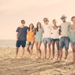 Multiethnic Group of Friends at Beach — Stock Photo #40079487