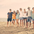 Stock Photo: Multiethnic Group of Friends at Beach