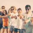 Multiethnic Group of Friends at Beach — Stock Photo #40080239