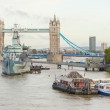 Stock Photo: Tower Bridge, Thames river and HMS Belfast in London