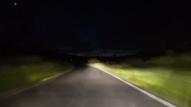 Driving on a Countryside Road at Night — Stock Video