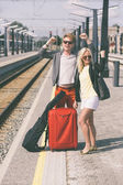 Young Couple Waiting at Train Station — Stock Photo