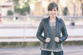 Beautiful Girl with Leather Jacket at Park — Stock Photo