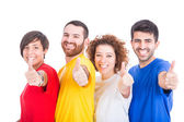 šťastný skupina přátel na bílém pozadí — Stock fotografie