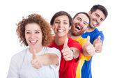 Glückliche gruppe von freunden auf weißem hintergrund — Stockfoto