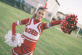 Cheerleader in the Field — Stock Photo