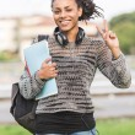 Beautiful Mixed-Race Student Outdoor — Stock Photo