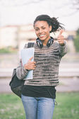 Beautiful Mixed-Race Student Outdoor — Stock Photo