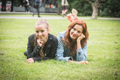 Two Girls at Park in Tallinn — Stockfoto