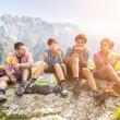 People Having a Rest at top of Mountain — Stock Photo