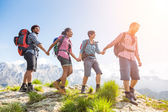 People Hiking at Top of Mountain — Stock Photo