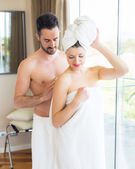 Young Couple at Hotel Room after Shower — Stock Photo
