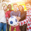 Teenage Friends Holding Brazilian Flag and Soccer Ball — Stock Photo #45347943
