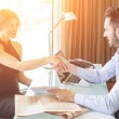 Man and Woman giving Handshake at Office — Stock Photo #45442801