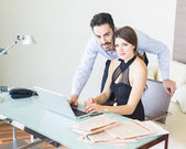 Business Couple Working at Office — Stock Photo
