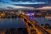 Aerial View of Cologne, Germany, at Twilight — Stockfoto