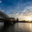 Cologne Cathedral and hohenzollern Bridge at Sunset — Stock Photo #46476971