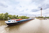 Cargo Barge on Rhine River in Dusseldorf — Stock Photo