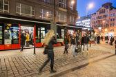PRAGUE, CZECH REPUBLIC - MARCH 16,2013: People at tram stop next — Stock Photo