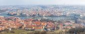 Panoramic View of Prague, Charles Bridge and Vltava — Stock Photo