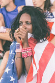 Worried American Supporters at Stadium — Stock Photo