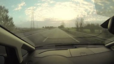 Driving in the Highway at Sunset — Vídeo de stock