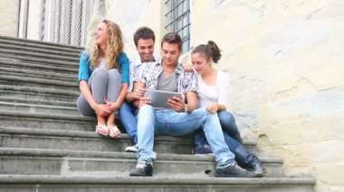 Group of Friends with Tablet PC — Vídeo Stock