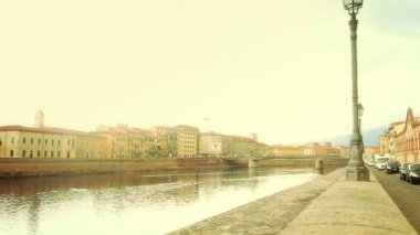 Girl Walking Along Arno River — Stock Video