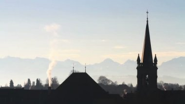 Roofs and chimneys in Bern — Stock Video