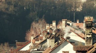 Roofs and chimneys — Stock Video