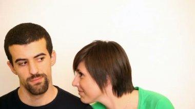Man accept flirting of woman — Stock Video