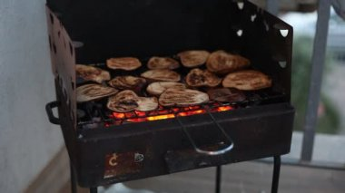 Aubergines on the Barbecue — Vídeo de stock