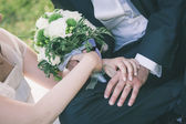 Bride and Groom with Wedding Rings — Stock Photo