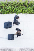 Business People Walking with Trolley Bag, Aerial View — Stock Photo
