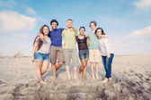Multiracial Group of Friends at Beach — Stock Photo