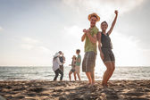 Multiracial Group of Friends Having a Party at Beach — Stock Photo
