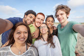 Multiracial Group of Friends Taking Selfie at Beach — Stock Photo