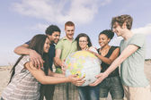 Multiracial Group of Friends with World Globe Map — Stock Photo