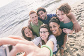 Multiracial Group of Friends Taking Selfie at Beach — Photo